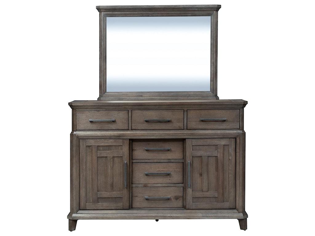 Vendor 5349 Artisan Prairie6 Drawer 2 Door Dresser with Mirror