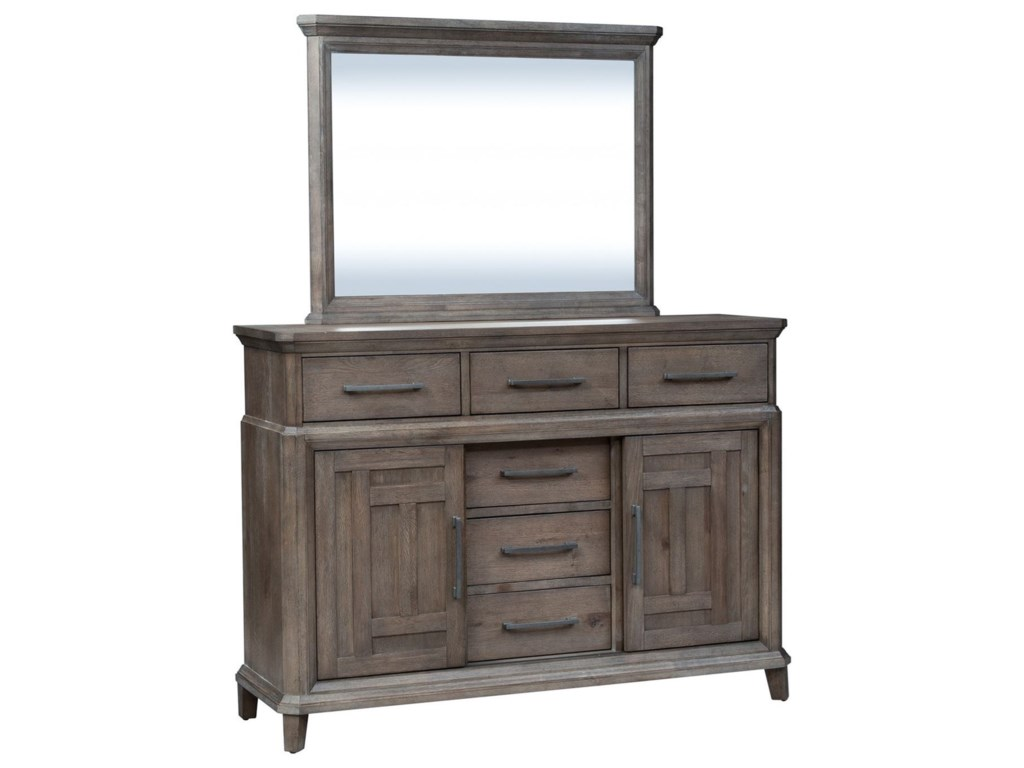 Liberty Furniture Artisan Prairie6 Drawer 2 Door Dresser with Mirror