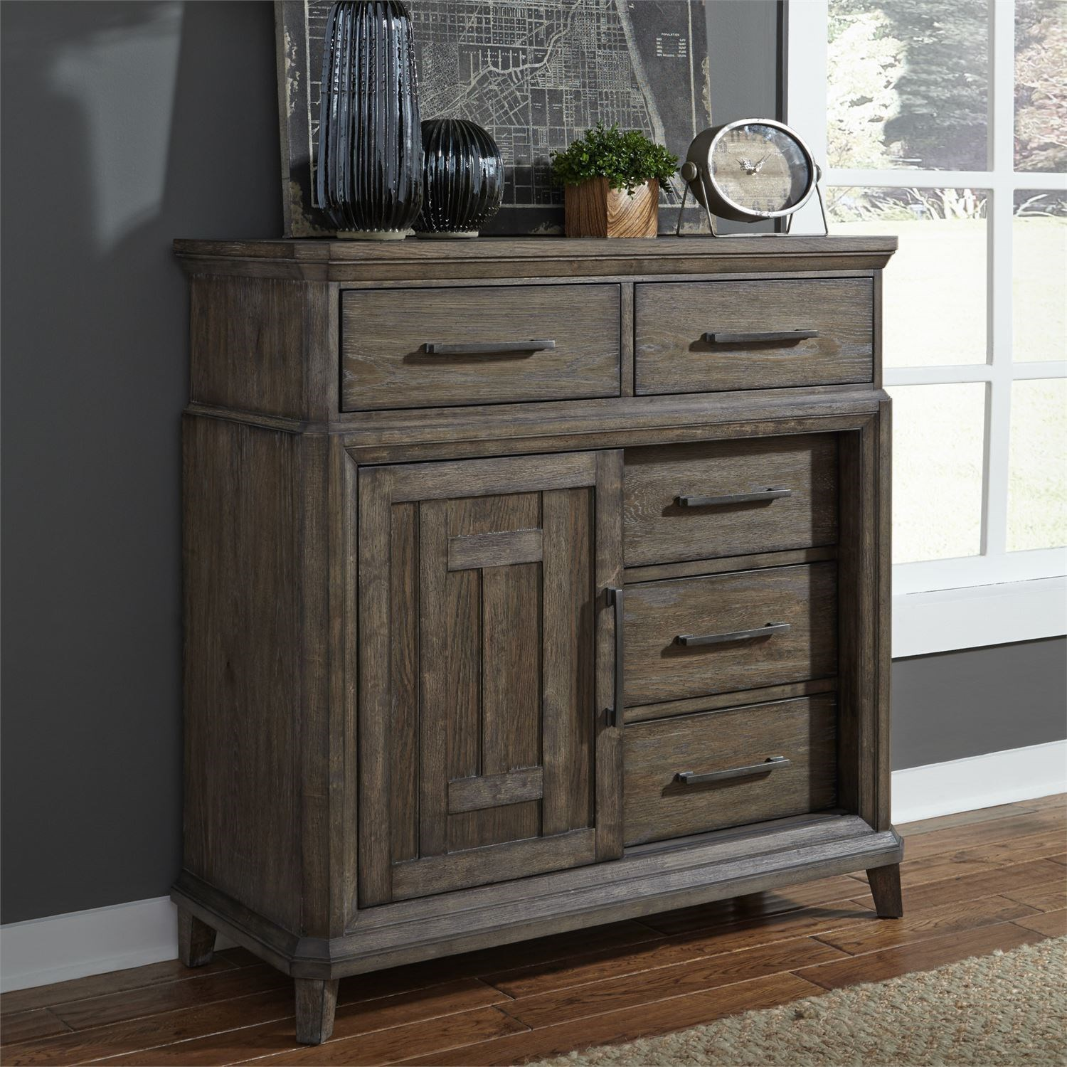 Transitional 5 Drawer Chest with Doors with Cedar Lined Bottom Drawer