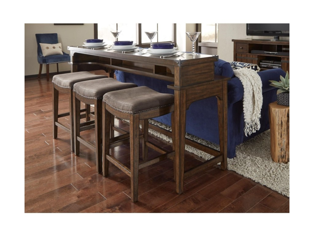 Liberty Furniture Aspen SkiesCounter Height Sofa Table and Stool Set