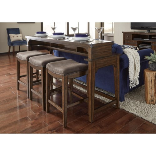 Liberty Furniture Aspen Skies Counter Height Sofa Table And Stool