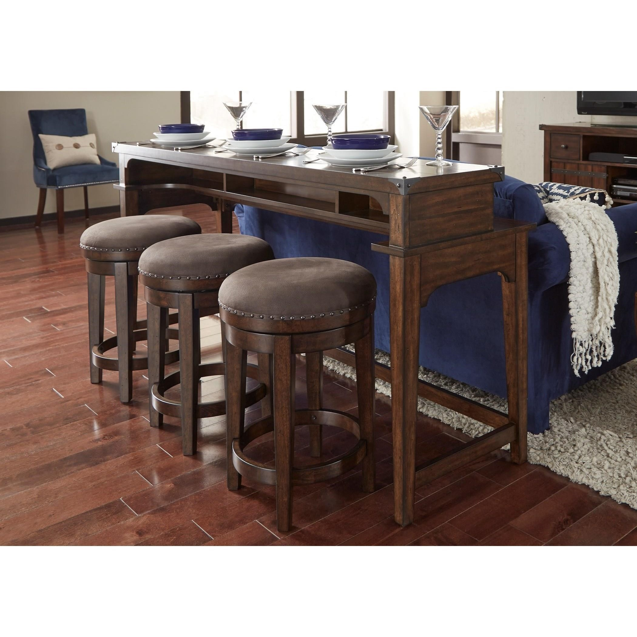 Picture of: Liberty Furniture Aspen Skies Counter Height Sofa Table And Swiveling Stool Set Royal Furniture Pub Table And Stool Sets