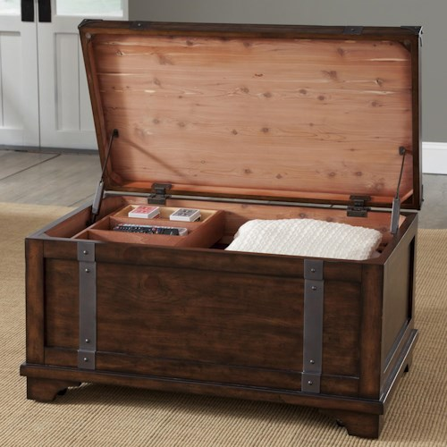 Liberty Furniture Aspen Skies Industrial Casual Storage Trunk with Removable Storage Box