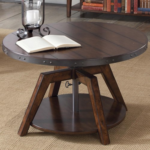 Liberty Furniture Aspen Skies Industrial Casual Adjustable Round Motion Cocktail Table