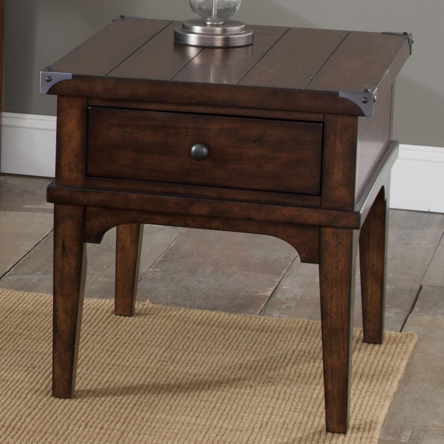 Industrial Casual End Table with One Drawer