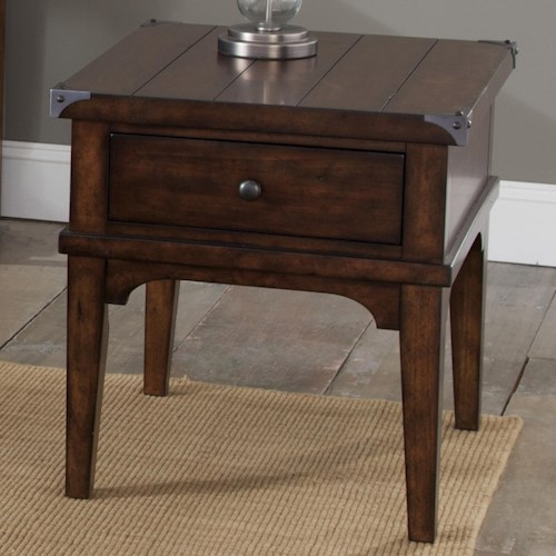 Liberty Furniture Aspen Skies-Occ Industrial Casual End Table with One Drawer