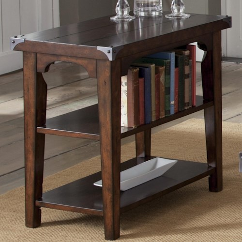 Liberty Furniture Aspen Skies Industrial Casual Chairside End Table with 2 Shelves