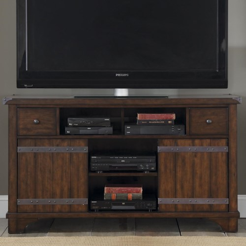 Liberty Furniture Aspen Skies Industrial Casual TV Console with 2 Doors