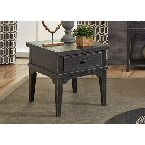 Liberty Furniture Aspen Skies Industrial Casual End Table with One Drawer