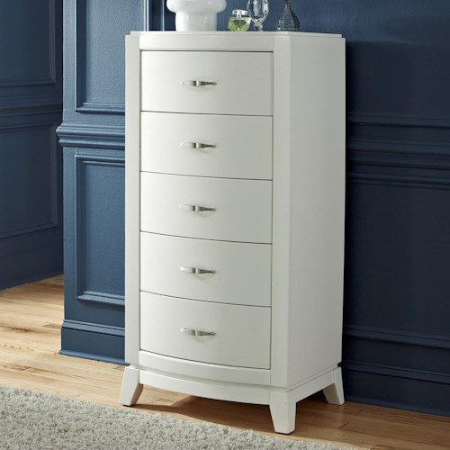 Liberty Furniture Avalon II Modern 5 Drawer Lingerie Chest with Satin Nickel Bar Pulls