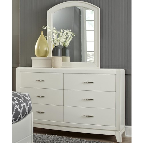 Liberty Furniture Avalon II Youth Dresser with 5 Drawers & Arched Mirror
