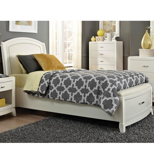 Liberty Furniture Avalon II Twin Storage Bed with Leather Headboard and 1 Drawer