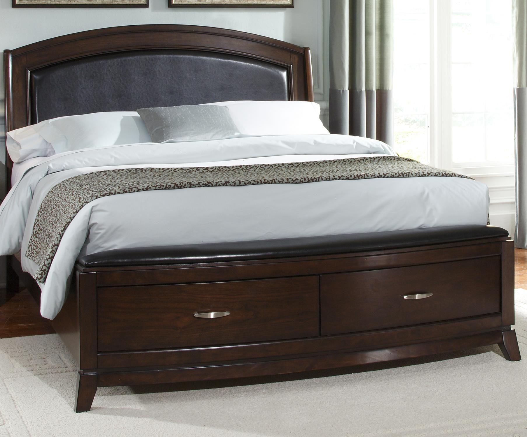 Liberty Furniture Avalon Queen Platform Leather Bed With Storage Royal Furniture Platform Beds Low Profile Beds