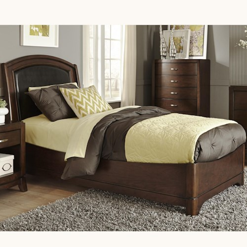 Liberty Furniture Avalon Twin Bed with Arched Leather Headboard