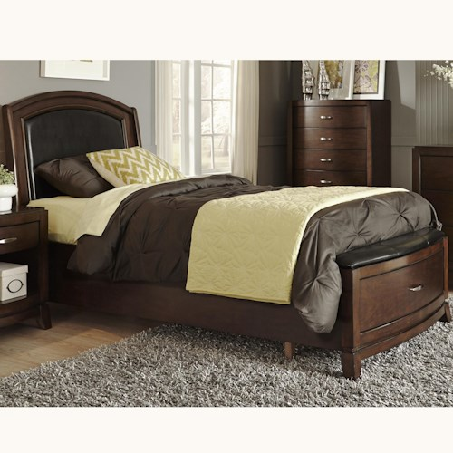 Liberty Furniture Avalon Twin Storage Bed with Leather Headboard and 1 Drawer