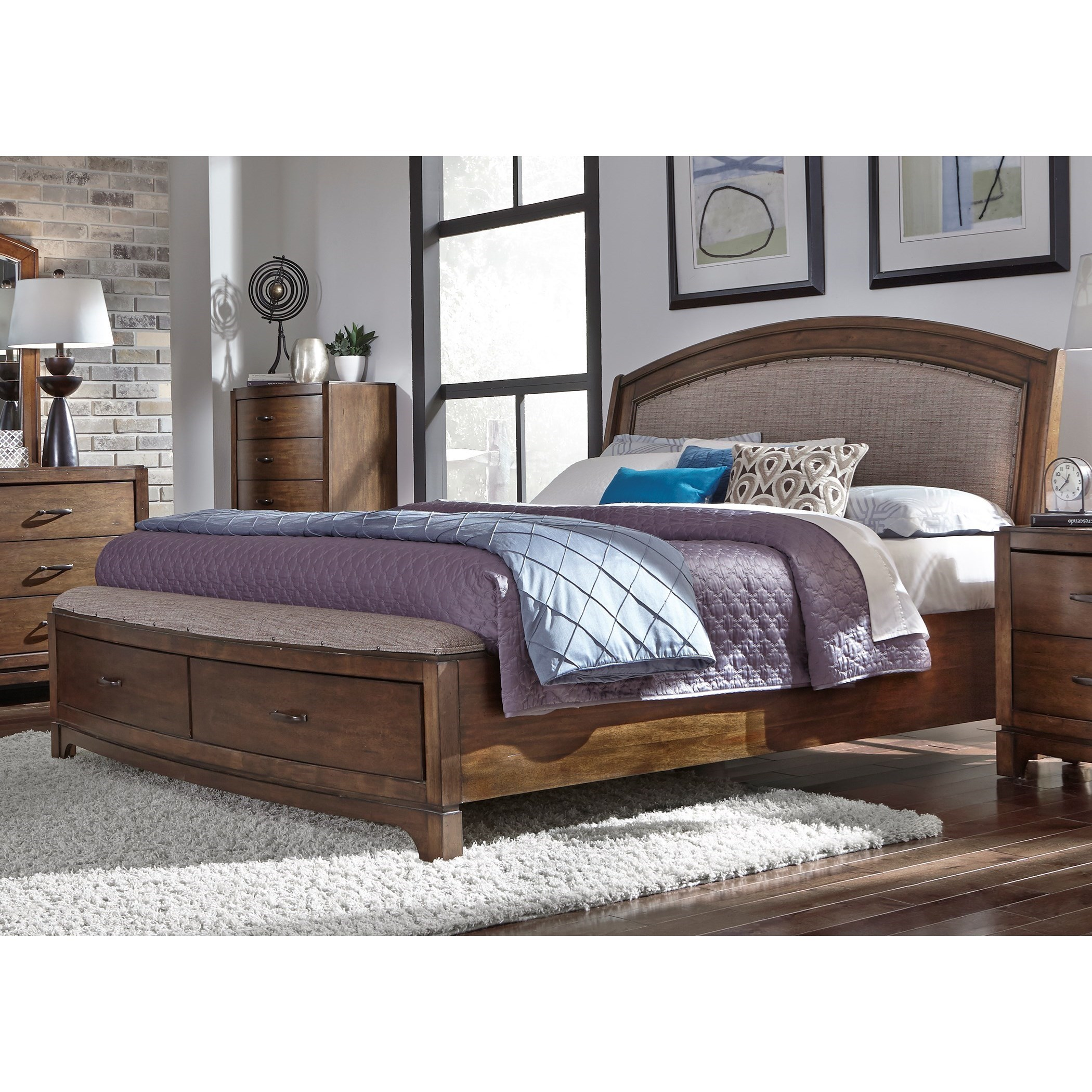 Picture of: Liberty Furniture Avalon Iii King Stoarge Bed With Upholstered Headboard Novello Home Furnishings Platform Beds Low Profile Beds