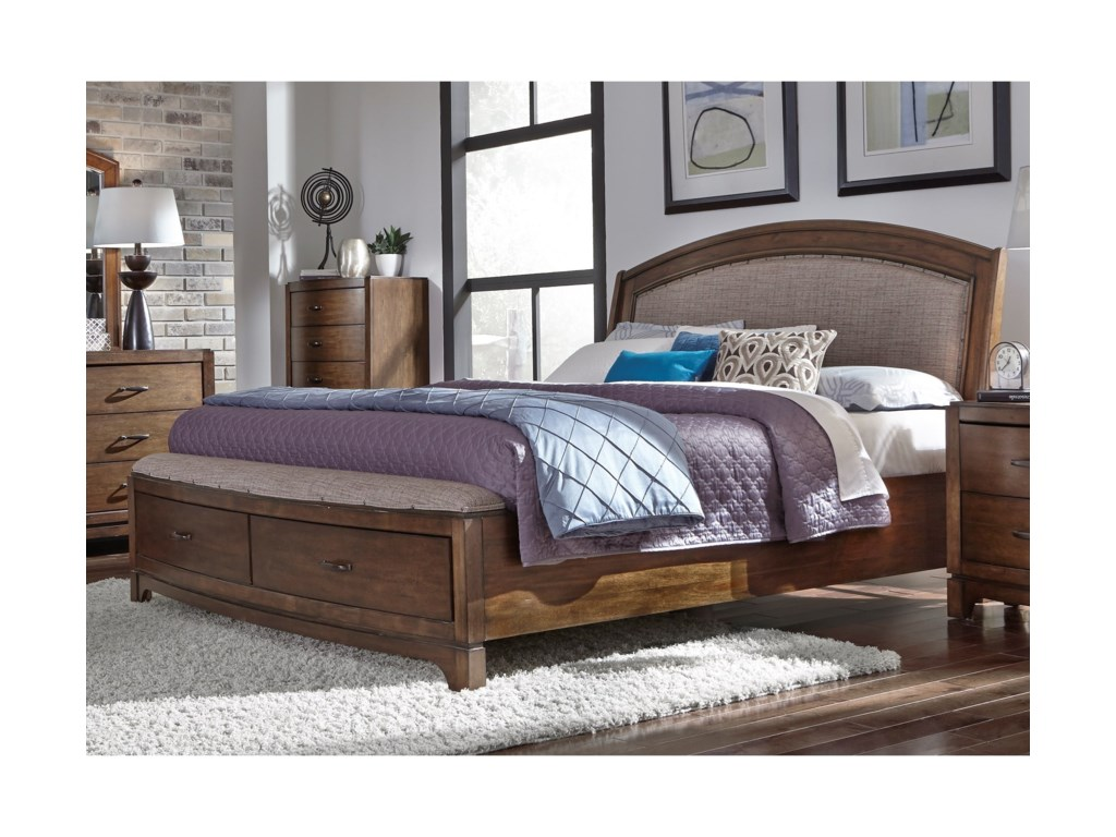 Liberty Furniture Avalon IIIQueen Storge Bed with Upholstered Headboard