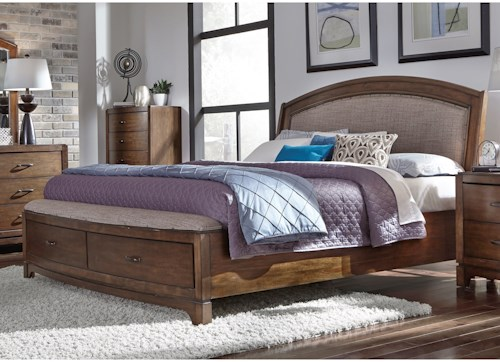 Liberty Furniture Avalon III King Storge Bed with Upholstered Headboard