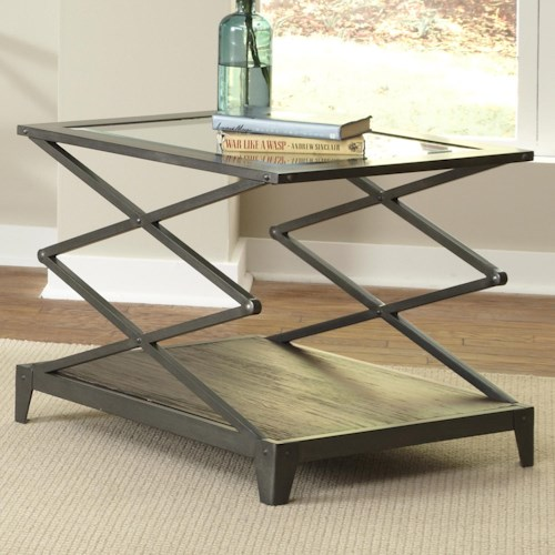 Liberty Furniture Avignon Glass Top End Table with Scissor-Lift Frame