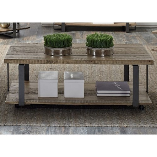 Liberty Furniture Baja Occasional Rectangular Cocktail Table with Shelf & Casters