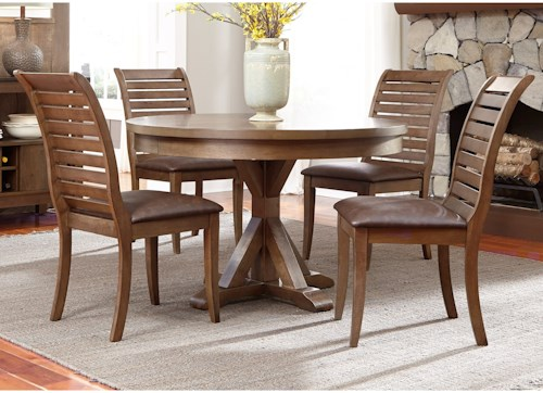 Liberty Furniture Bayside 5 Piece Round Table Set with Cushioned Chairs