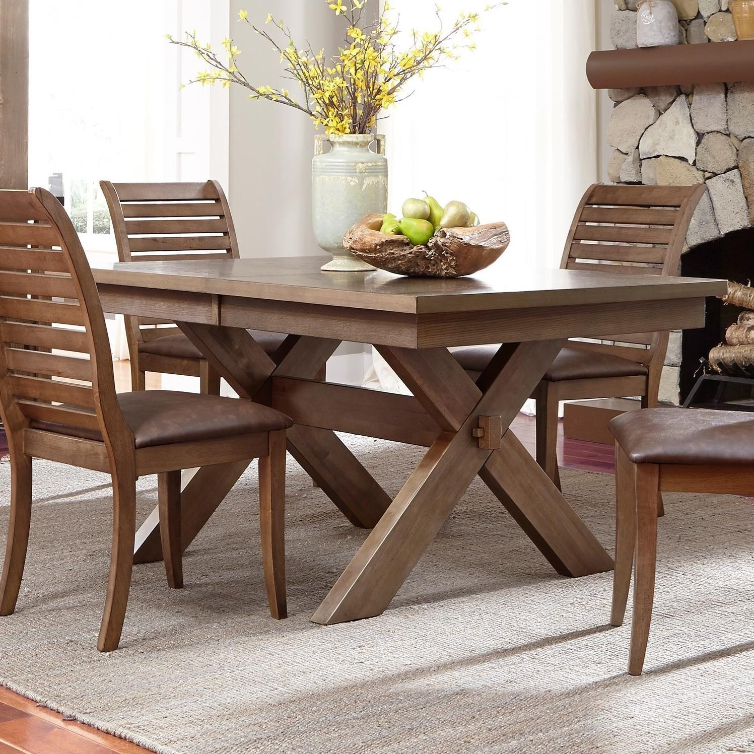 Liberty Furniture Bayside Trestle Dining Table With Butterfly Leaf   H.L.  Stephens   Dining Tables