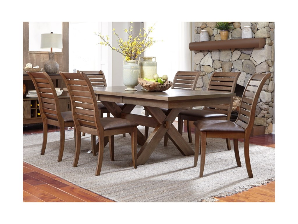 Butterfly kitchen table and chairs - Liberty Furniture Bayside Trestle Dining Table With Butterfly Leaf H L Stephens Dining Tables