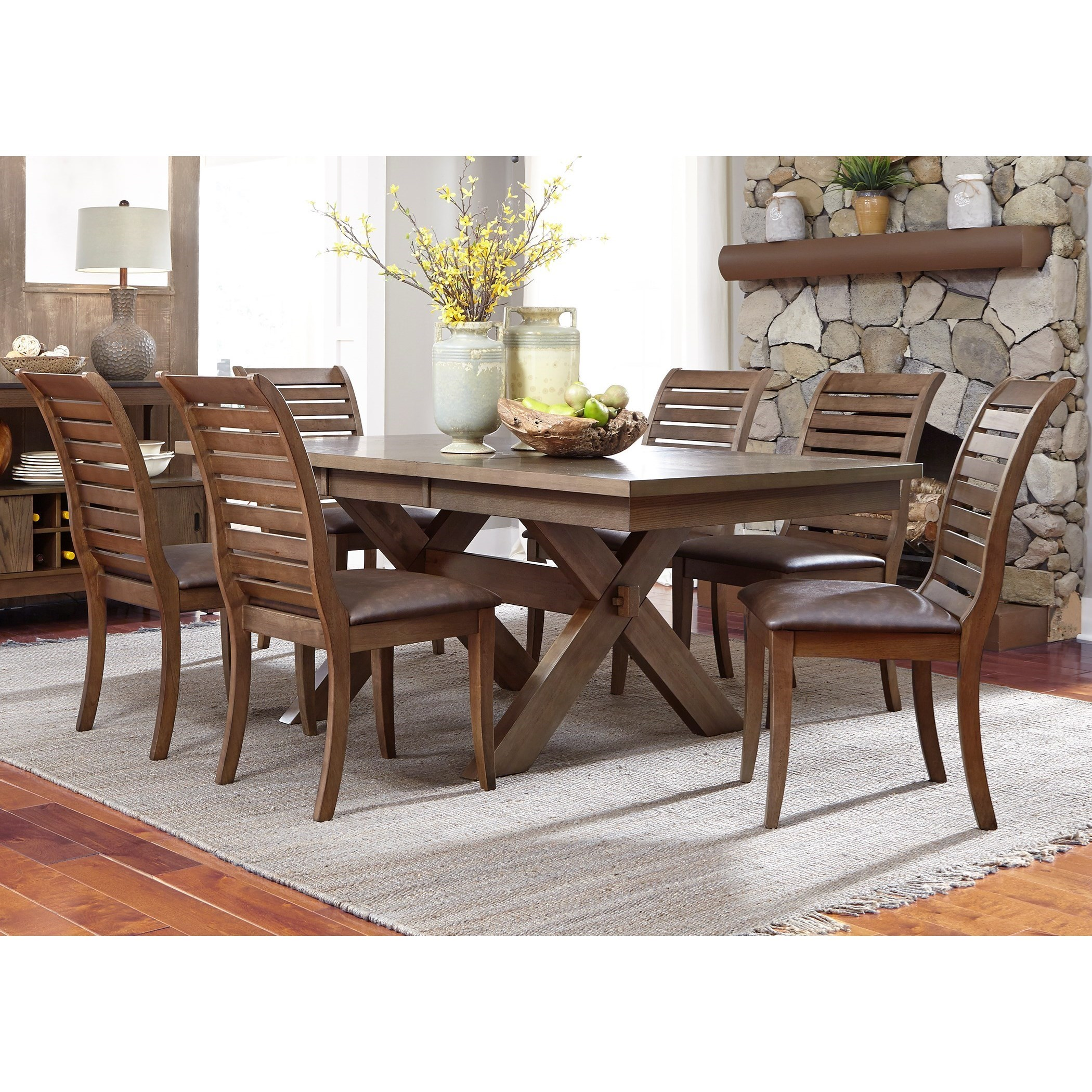 Liberty Furniture Bayside Trestle Dining Table With Butterfly Leaf