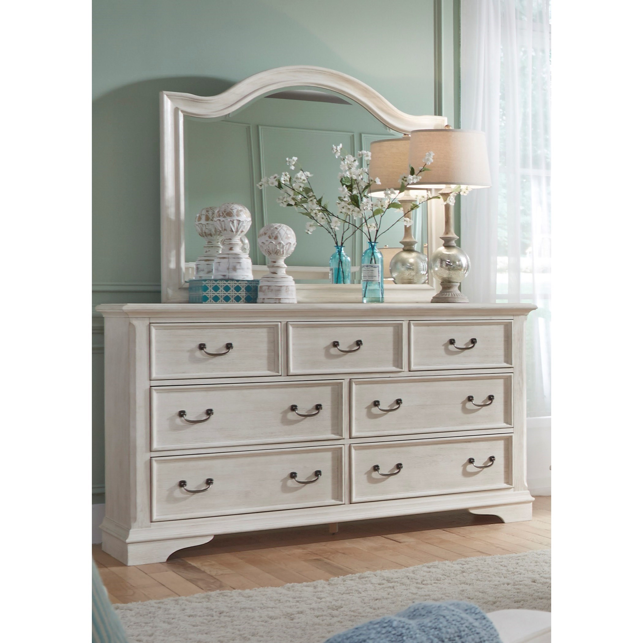 Bayside Bedroom Transitional Dresser With Dust Proof Drawers U0026 Mirror By  Sarah Randolph Designs