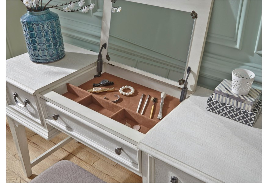 Bayside Bedroom Transitional Vanity Desk with Lift Top Jewelry Storage by  Liberty Furniture at DuBois Furniture