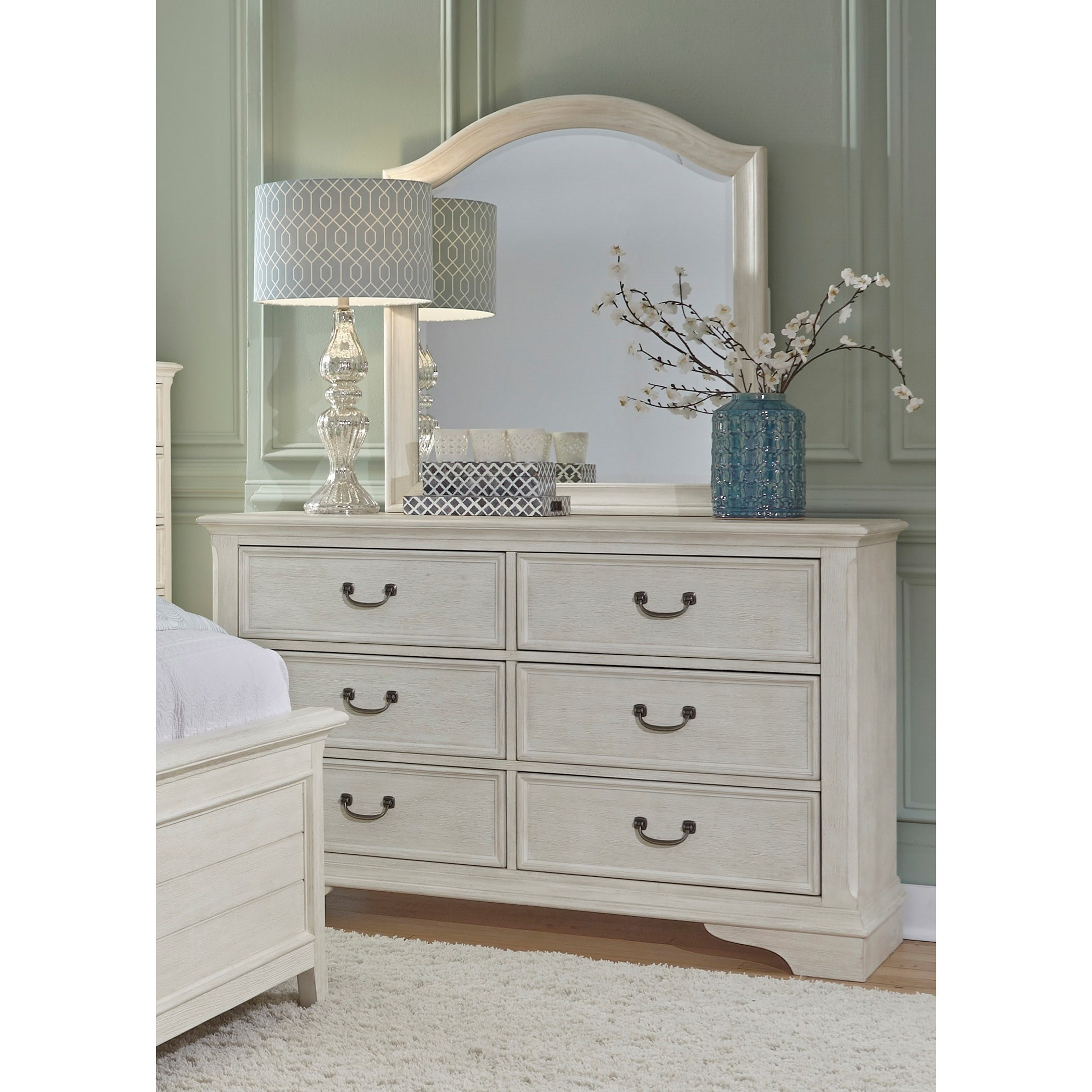 Liberty Furniture Bayside Bedroom Transitional 6 Drawer Dresser With Dust  Proof Drawers U0026 Mirror