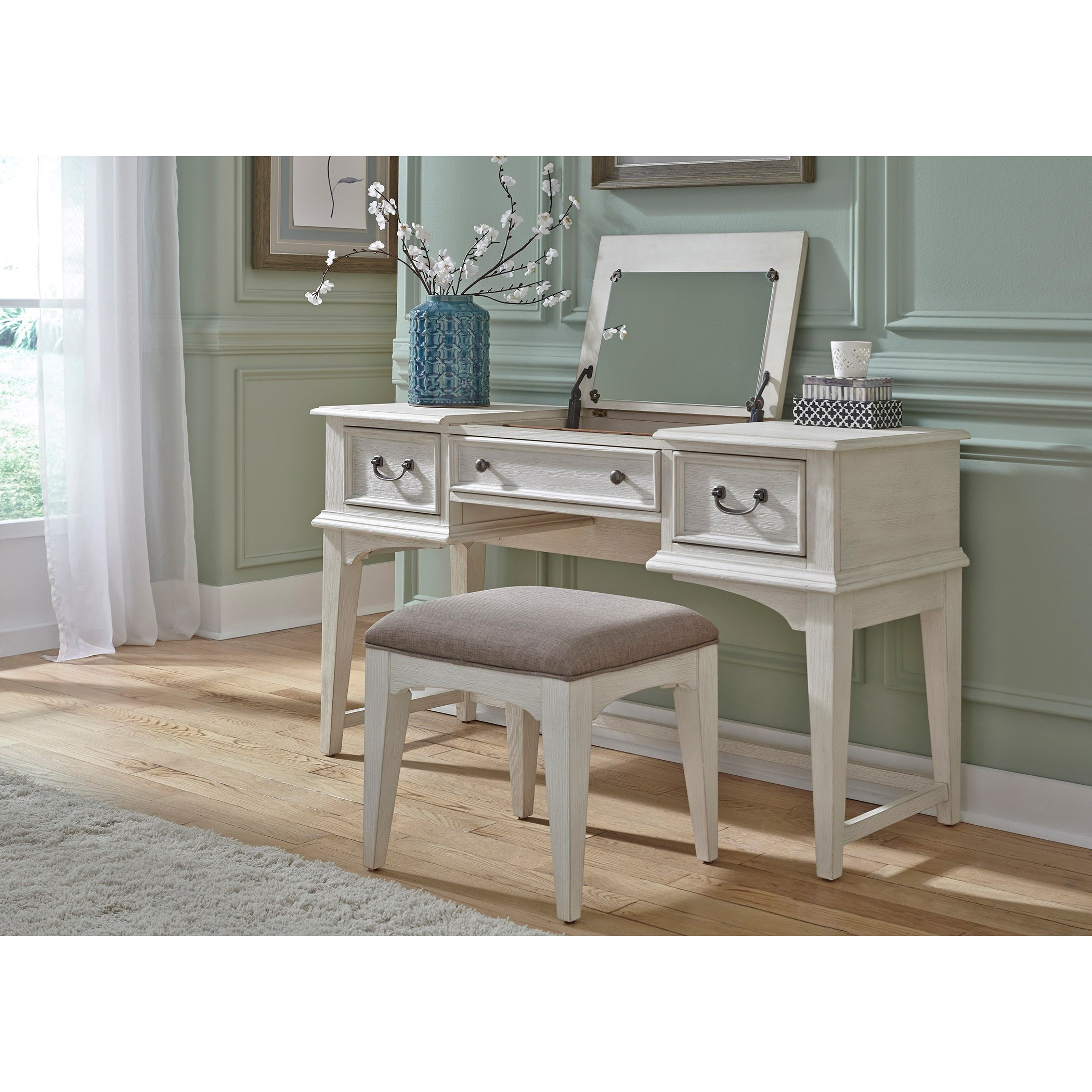 Transitional Vanity with Lift Top Jewelry Storage and Bench