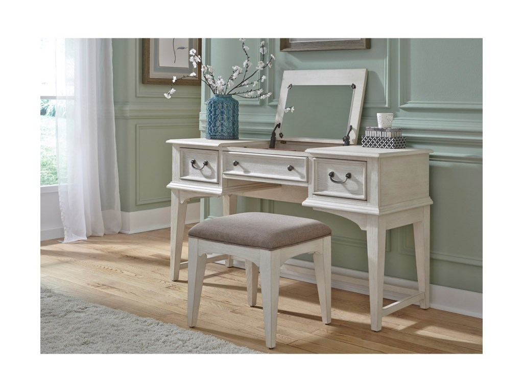 . Bayside Bedroom Transitional Vanity with Lift Top Jewelry Storage and Bench  by Liberty Furniture at Royal Furniture