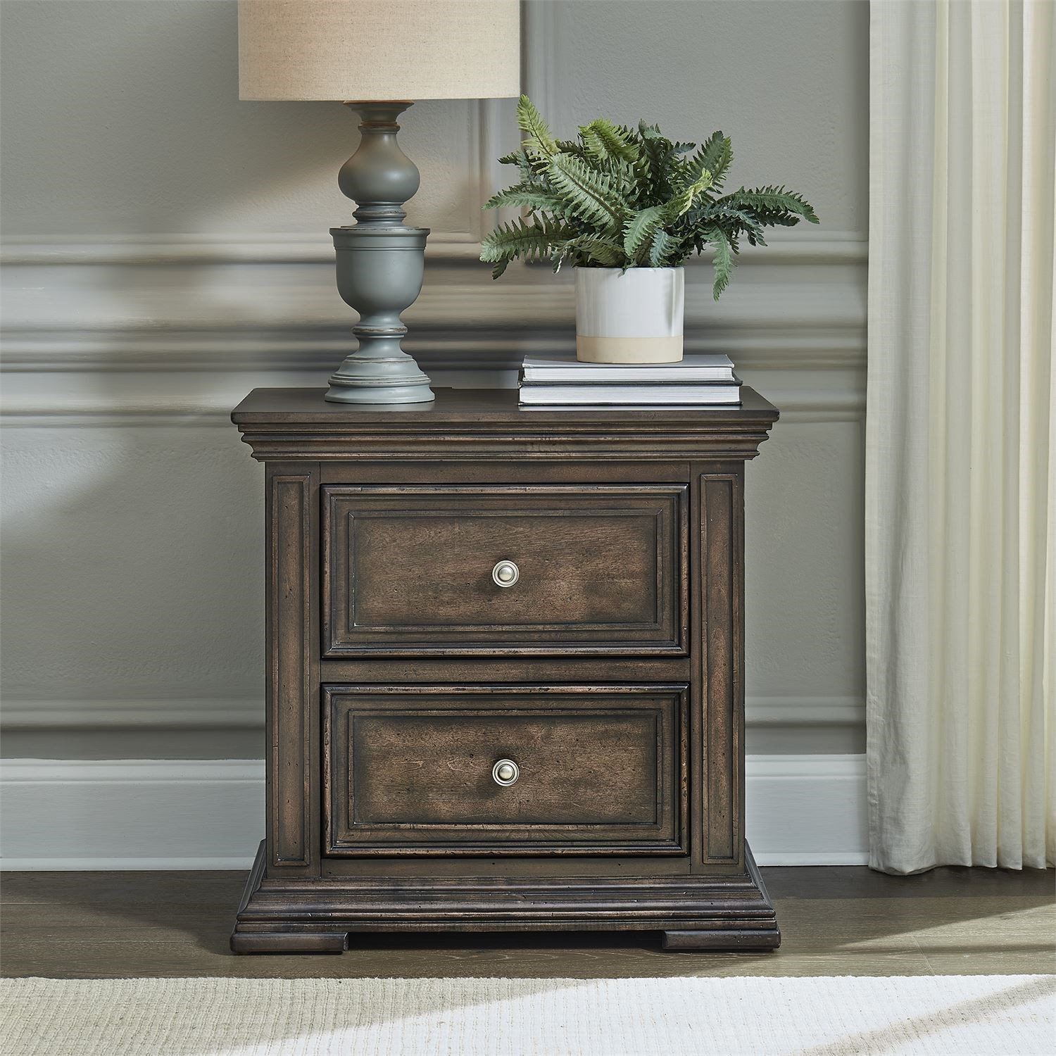 Relaxed Vintage 2-Drawer Night Stand with Charging Station