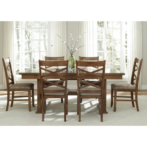 Liberty Furniture Bistro 7 Piece Trestle Table Set
