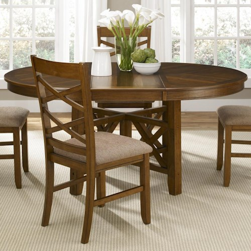 Liberty Furniture Bistro Round-to-Oval Single Pedestal Dining Table with 18-Inch Butterfly Leaf