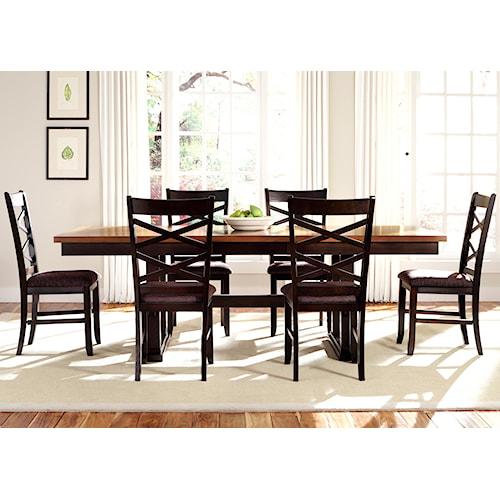 Liberty Furniture Bistro II 7 Piece Trestle Table Set