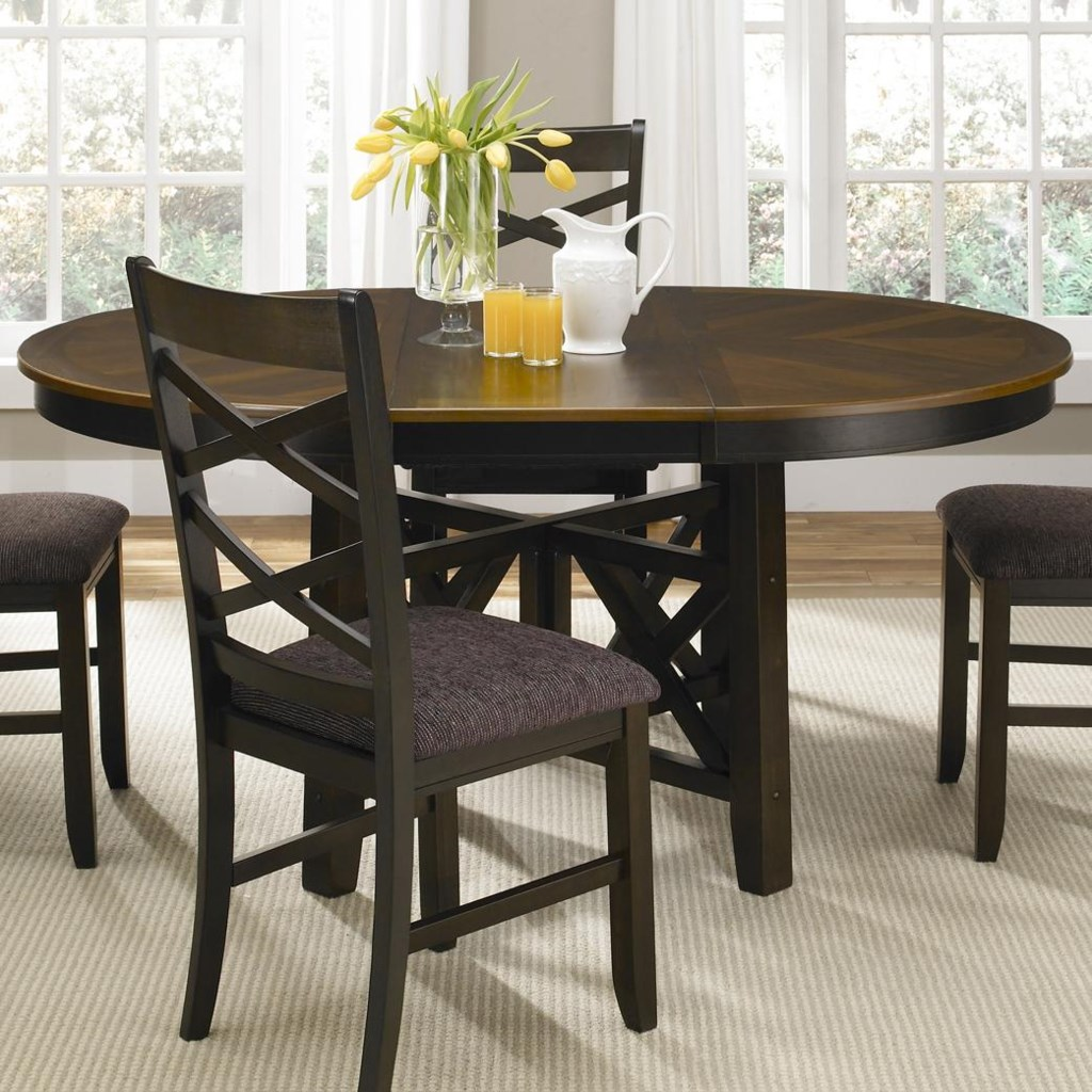 Colby Round To Oval Single Pedestal Dining Table With 18 Inch