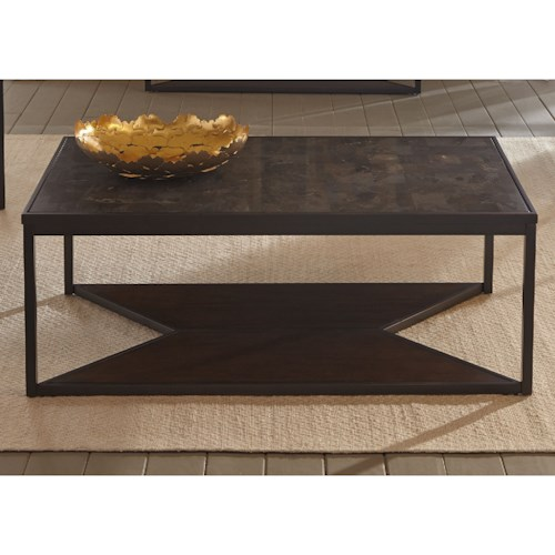 Liberty Furniture Blue Stone Hills Occasional Cocktail Table with Bottom Shelf