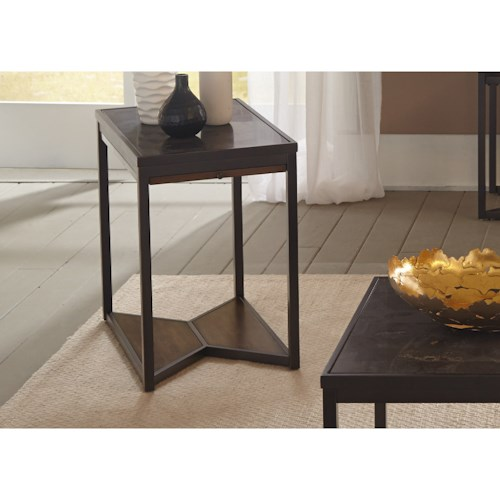 Liberty Furniture Blue Stone Hills Occasional Chair Side Table with Bottom Shelf