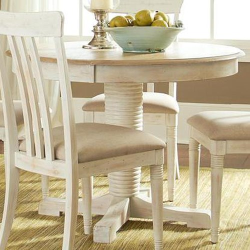 Liberty Furniture Bluff Cove Coastal Oval Pedestal Table