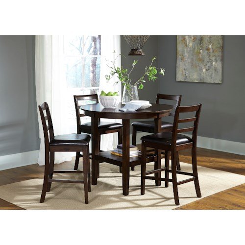 Liberty Furniture Bradshaw Casual Dining 5 Piece Round Pub Table and Ladderback Chair Set
