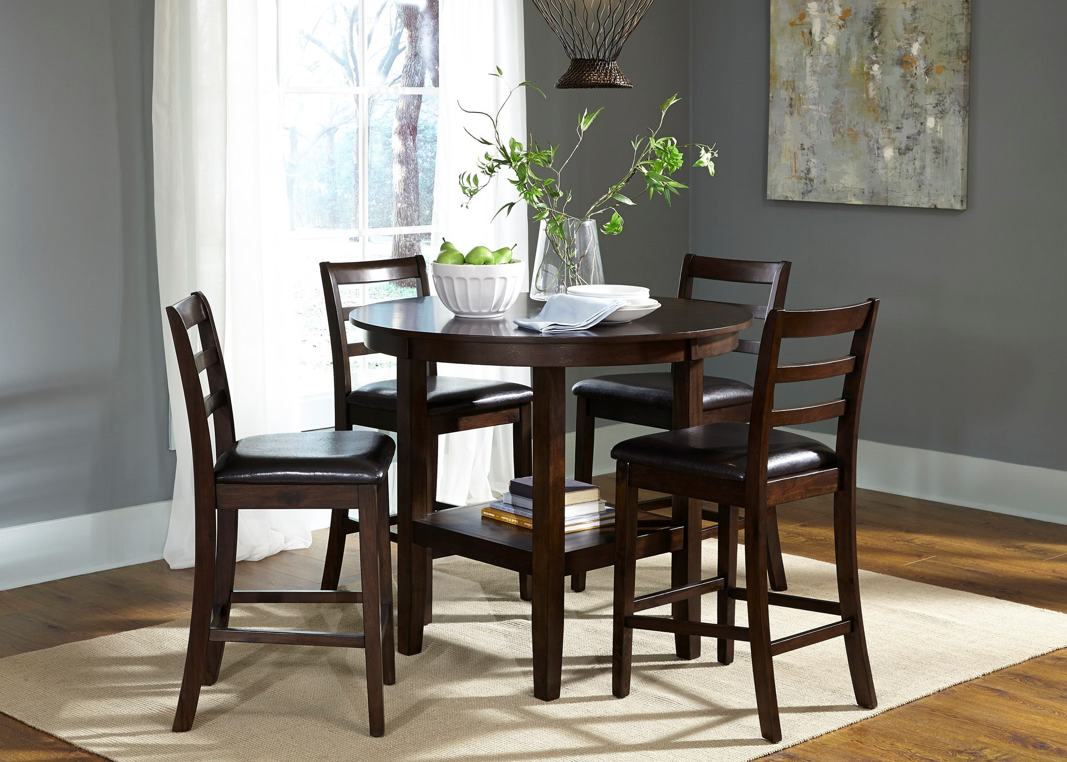 Beau Liberty Furniture Bradshaw Casual Dining 5 Piece Round Pub Table And  Ladderback Chair Set