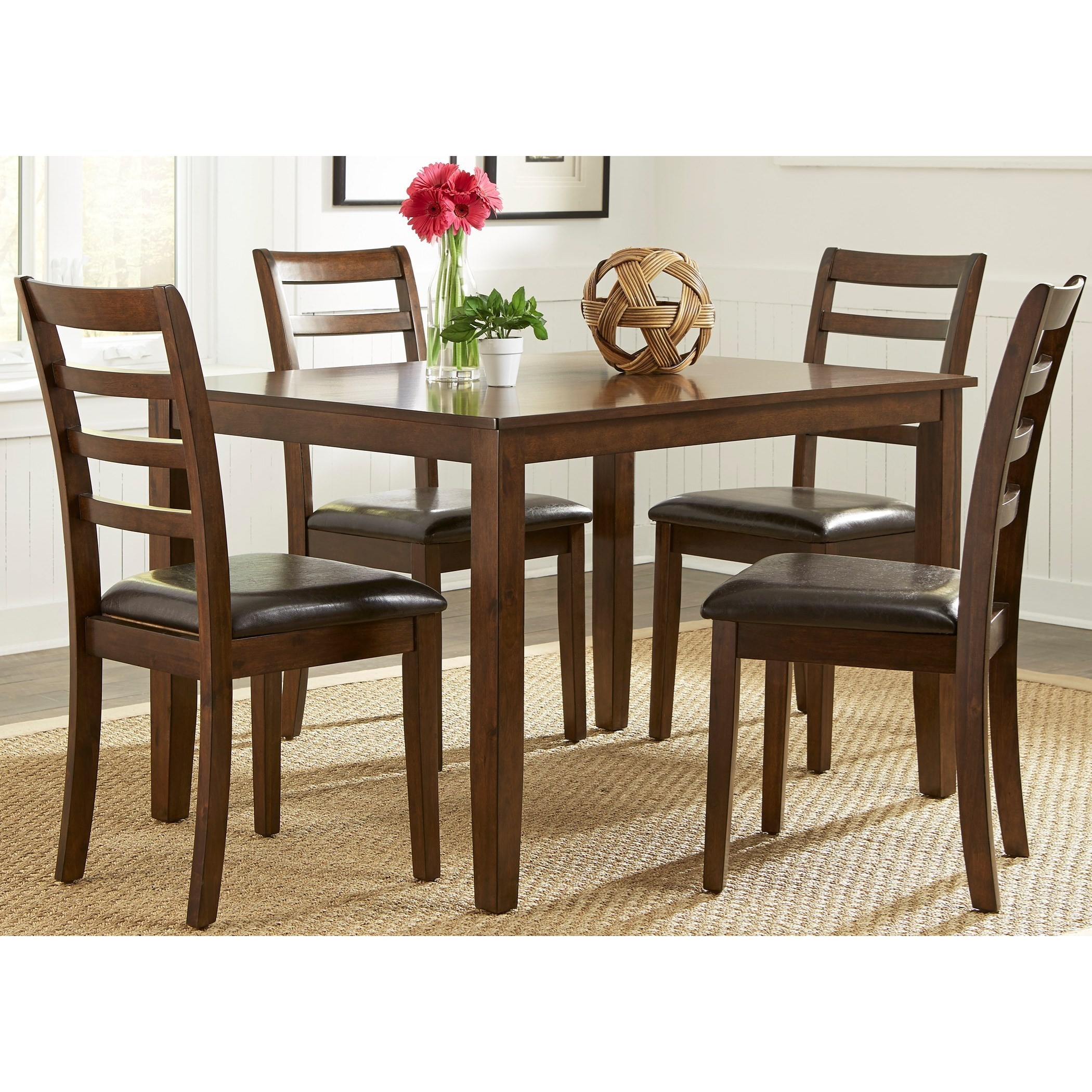 Elegant Bradshaw Casual Dining 5 Piece Rectangular Leg Table Set By Liberty  Furniture
