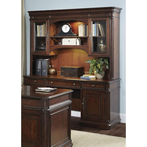 Liberty Furniture Brayton Manor Jr Executive Traditional Credenza and Hutch with Framed Glass Doors