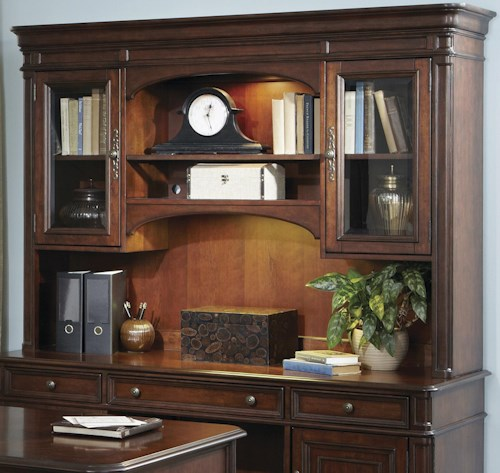 Liberty Furniture Brayton Manor Jr Executive Traditional Credenza Hutch with Framed Glass Doors