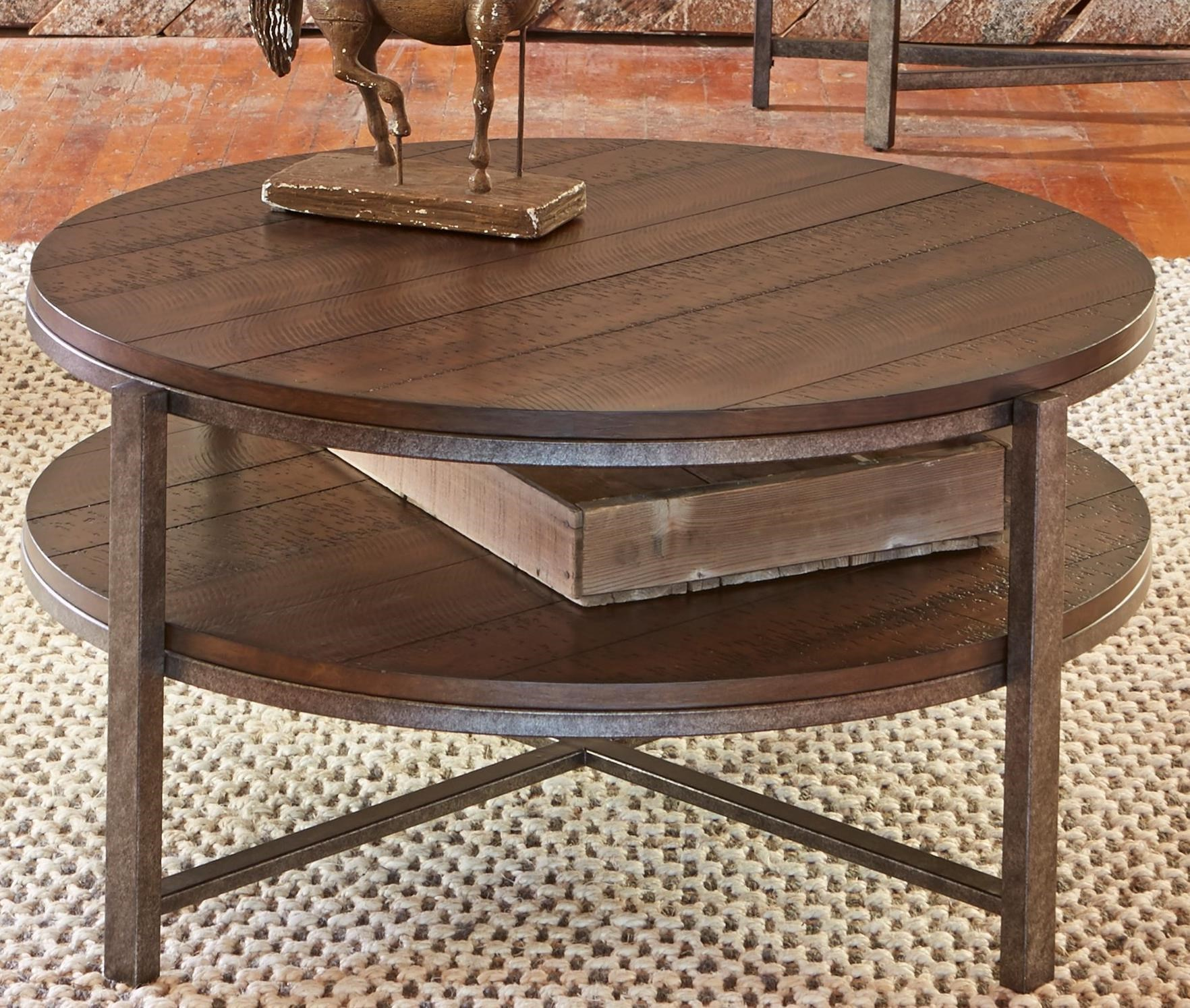 - Liberty Furniture Breckinridge Round Cocktail Table With Shelf