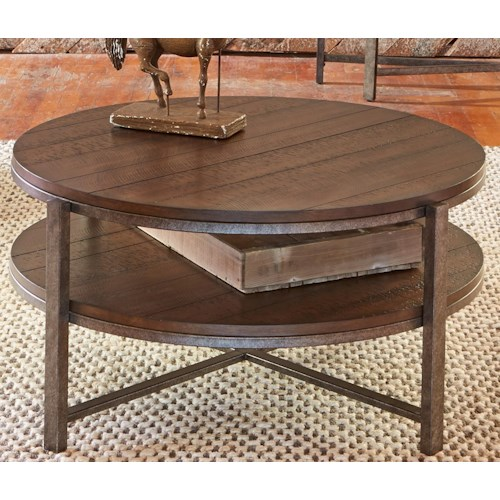 Liberty Furniture Breckinridge Round Cocktail Table with Shelf