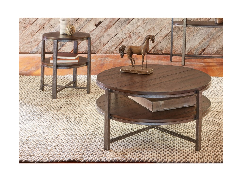 Liberty Furniture BreckinridgeRound Cocktail Table with Shelf