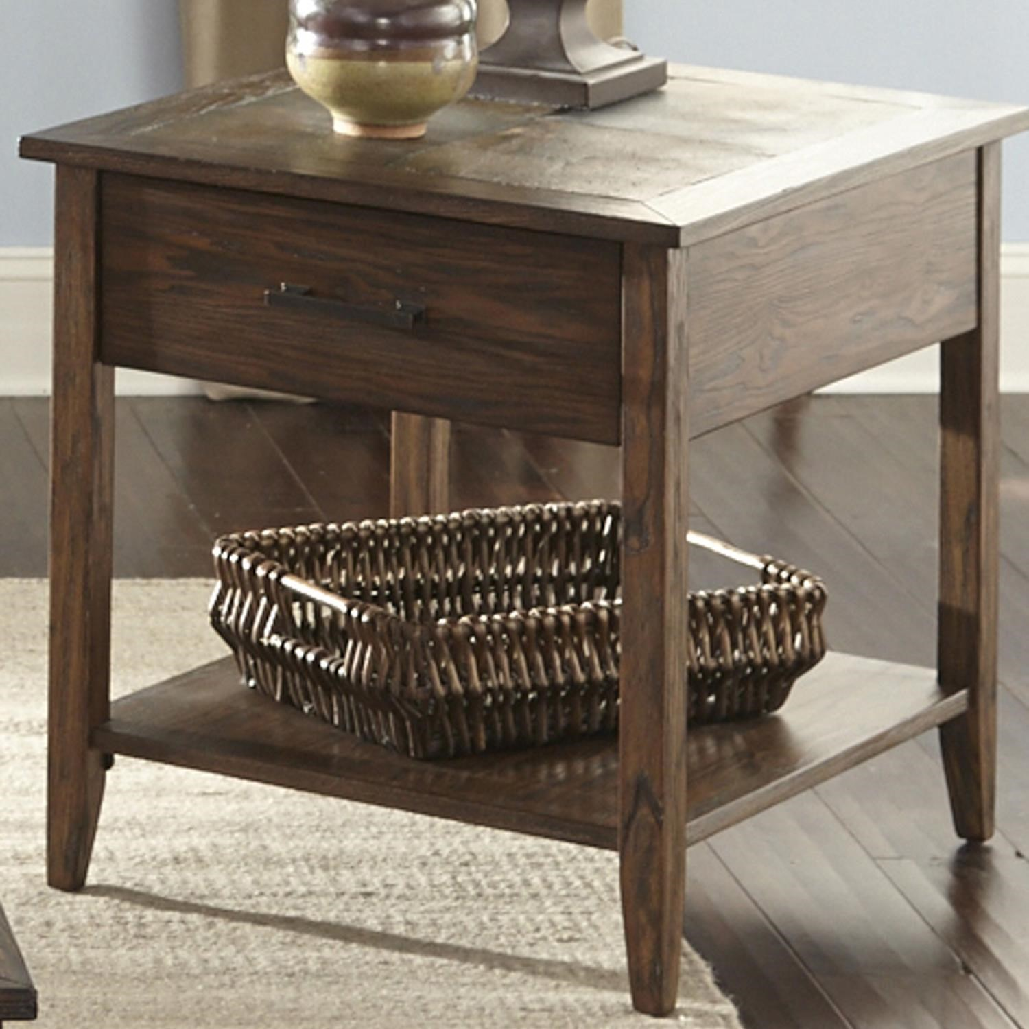 Great Liberty Furniture Brookstone Transitional End Table With Drawer